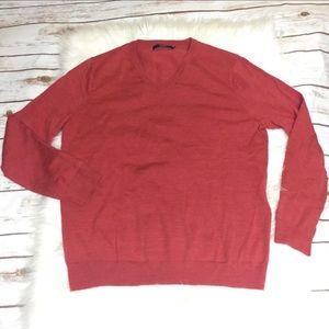 J. Crew red Merino Wool Oversized V-neck Sweater L